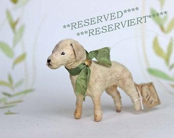 RESERVIERT ++ Nostalgische Wattefigur Christbaumschmuck Ornament Hund Jagdhund FilASophie  spun cotton