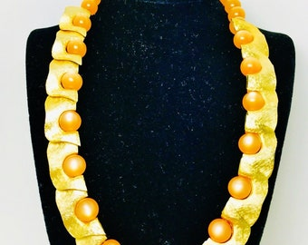 """Vintage Trifari Orange Iridescent Moonglow & Brushed Gold Choker 19"""" Perfect Condition Earrings not included Runway Statement"""