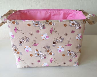 Hello Kitty, Fabric Bin, Fabric Organizer, Fabric Basket, Toy Organizer, Home Decor, Nursery Decor, Beige and Pink