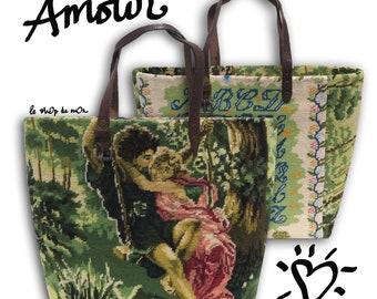 Tapestry Tote Bag, Needlepoint Purse, Stitched Handbag, Alphabet Lovers : Le Dulcinée