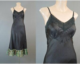 Vintage 1940s Rayon Slip Black with Plaid Taffeta Ruffle, 32 bust small