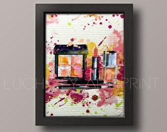Lipstick Art, Fashion Illustration, Make Up Art Print, Watercolor Art, Watercolor Fashion Illustration, Wall Art, Painting Art Print LU-22