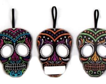 """6.25"""" Day of The Dead Skull Ornaments/Set of 3/Wreath Supplies/Halloween Decor/Día de los Muertos/OSW166053"""
