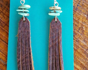 Fringe Earrings - Brown Leather - Turquoise - Sterling Silver -Rustic Earrings - Cowgirl Jewelry - Western Jewelry - Boho