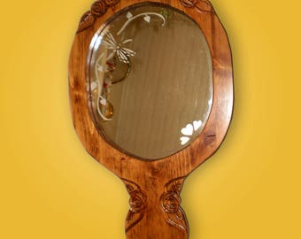 Rose carved hand mirror, woodworking plan.