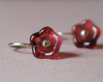 Earrings / Flower Earrings / Sterling Silver Earrings/ Pink Earrings/ Floral Earrings/ Dangle/Raspberry Earrings/ Glass Earrings / Dark Pink