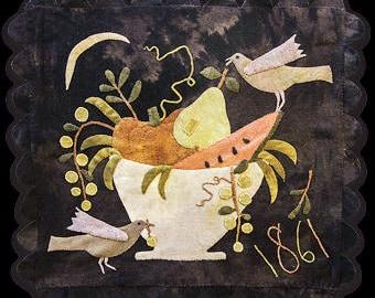 Primitive Wool Applique - Bowl of Plenty by Maggie Bonanomi - Choose Pattern Only or Pattern w/Wool Kit