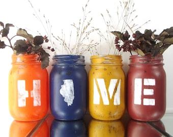 Illinois Home, State Pride, Rustic Home Decor, Custom Mason Jars, Illinois State, Rustic Centerpiece, Cute Home Decor, Housewarming Gift
