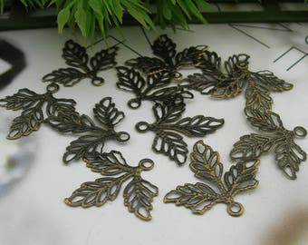 10% off:  200pcs Antique Brass Leaf filigree charms, 23 x 25 mm