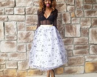 "YES, I DO Tulle Mini, Midi, or Maxi Bridal Skirt ""Fiance"" - XS - 6XL Plus Size, Any Height"