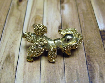 Vintage Gold Tone Small Poodle Brooch /Pin