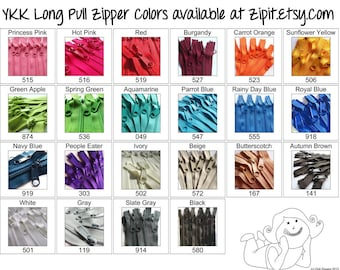 YKK Purse Zippers 4.5mm with a Long Handbag Pulls- You choose color and size- ONE Zipper- 7,8,9,10,12,14,16,18, or 24 inches