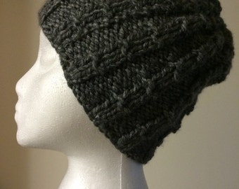 Womens Knitted Gray Warm Winter Hat