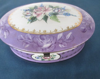 Vintage Purple Oval Limoges Victorian Rose Hinged Dresser Box 1980 Reproduction Vintage Vanity Storage Home Decor Gift For Her