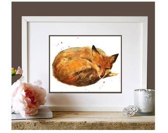 Dessin de renard à l'aquarelle