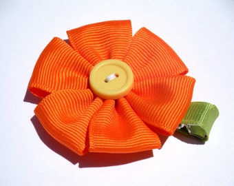 Flower Hair Bow - No Slip Clip - Orange and Yellow