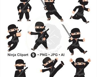 Ninja Clipart,cartoon ninja clipart,ninja clipart,digital download