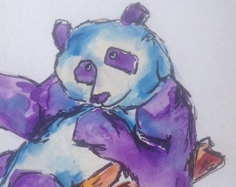 Panda original watercolour painting on watercolour paper