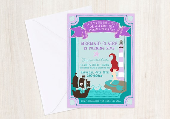 Mermaid & Pirate party Invitation - Purple Pool party Invitation- under the sea - little mermaid - party supplies