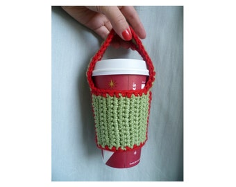 HANDMADE Knitted Bicycle Cup Holder Green & Red Wool, Bike Accessories, Bicycle Accessories