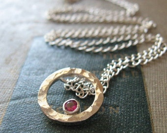 Ruby Birthstone Pendant Necklace Sterling Silver Hammered Circle Gemstone Pendant