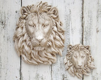 Aged Antique Style  Lion Head~Lion Decor Wall Decor~Your Choice Large or Small Lion Head~Lion Head Wall Mount~Fake Animal Heads Cyber Monday