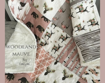 Woodland Crib Bedding Girl, Woodland Deer Quilt, Birch Nursery, Baby Bedding Mauve, Crib Bedding Rustic Girl, Bear Nursery, Woodland Mauve