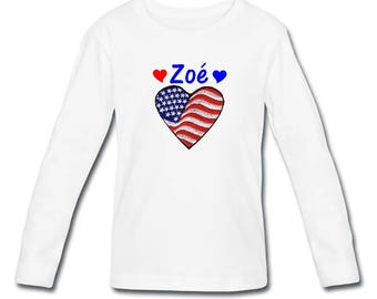 T-shirt long sleeve heart U S A girl personalized with name