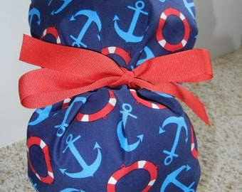 Fold Up Ponytail Surgical Scrub Hat with Nautical Anchors Lifesavers