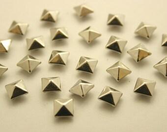 100 pcs. Silver Tone Pyramid Metal Studs Rivets Button 6 mm. KRPN6