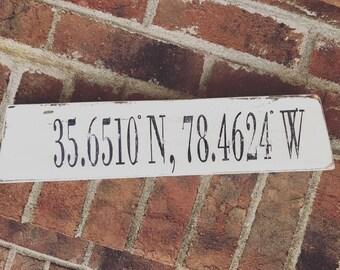 Coordinates sign- wood sign- longitude-latitude sign- mantle sign