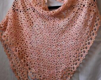 Wedding shawl/bridal wrap/spring wedding crochet triangle mesh pattern wrap (peaches and cream)