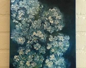 Hydrangea Painting, Original Art, Blue Hydrangeas On Canvas,  Hydrangea Art, Decorative Painting, Flower Art, Original Acrylic Painting,
