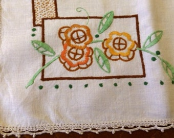 Vintage linen hand embroidered tablecloth/supper cloth