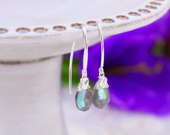 Labradorite Earrings, Grey Gemstone Threader Marquise Earrings, Sterling Silver Gold Filled Earrings, Blue Flash Neutral Grey