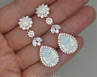 Chandelier Wedding Earrings, White Opal Earrings, Rose Gold Bridal Earrings Swarovski Rhinestone Jewelry Strass Hochzeits Ohrringe