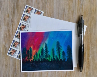 Galaxy Note Card - Aurora Borealis Note Card - Northern Lights Card - Nature Card - Blank Card with Envelope -Original Art Card