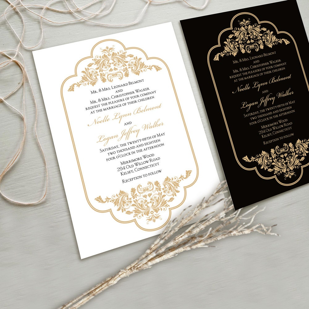 Timeless and Elegant Wedding Invitation Suite White and Gold