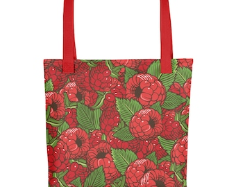 Vintage Raspberry Farmers Market Pattern Tote Bag (Handmade / Grocery Bag / Farmer's Market Bag / Shopping Bag)