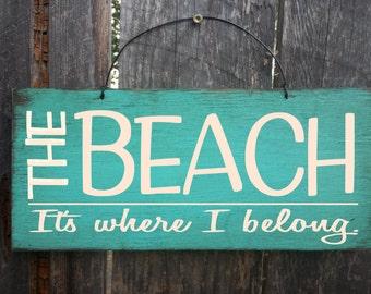 beach sign, beach decor, beach house art, beach It's where i belong sign, beach house decor, beach sign, nautical theme, beach house, 4