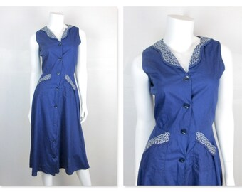 Vintage Late 1940s -  Early 1950s Cotton Dress / Navy Blue with White Trim, Summer Picnic, Backyard Barbecue, BBQ, Fourth 4th of July, Sz S