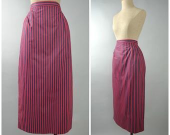 Claudette | Vintage 80s Striped Midi Pencil Skirt | 1980s Wiggle Skirt