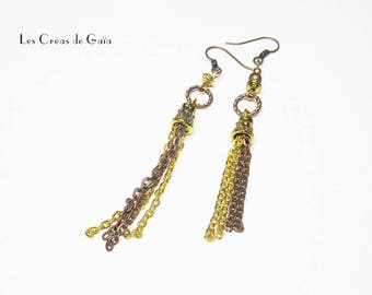 Earrings pendant Look bronze and chocolate mind trimmings • •