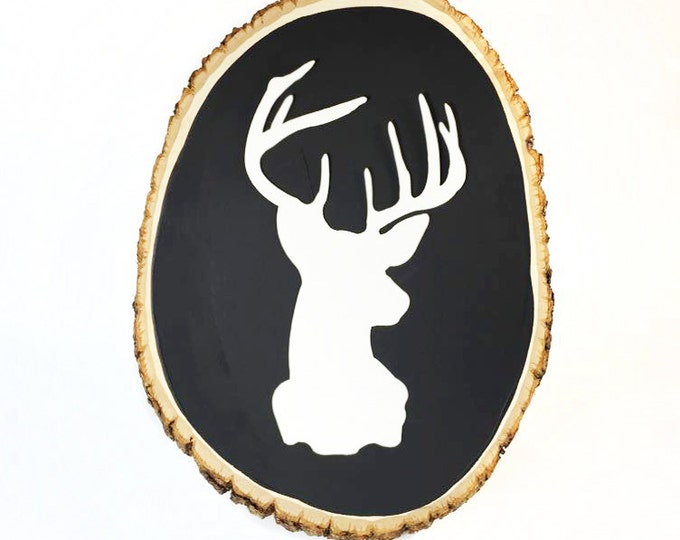 Large Rustic Wood Chalkboard, Oval Shaped