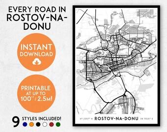 Rostov-na-Donu map print, Printable Rostov-na-Donu map art, Russia map, Rostov-na-Donu print, Rostov-na-Donu art, Rostov-na-Donu poster