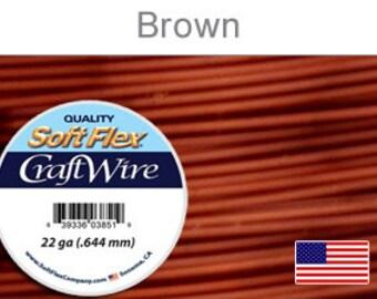 22 Gauge Brown Soft Flex Wire,  Round, Non-Tarnish,  Supplies, Findings