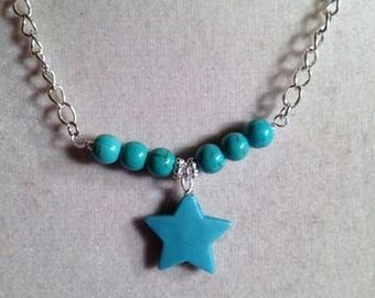 Star Necklace Turquoise Jewelry Gemstone Jewellery Silver Chain Pendant Charm Select Your Color Children Girl Fashion Everyday