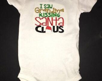 I saw Grandma Kissing Santa Claus Embroidered Onesie or Tshirt Keepsake Personalized Christmas