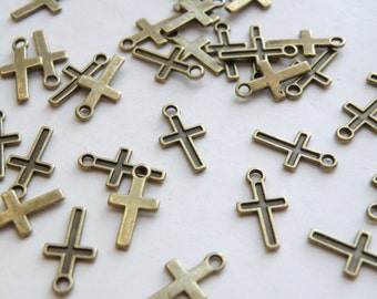 20 Simple cross charms antique bronze 15x8mm DB14440