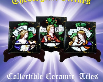 Theological virtues - collectible tiles serie - Faith, Hope and Charity - religious gifts - christian gifts - religious art - christian art